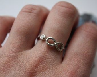 Infinity adjustable ring, Infinity sterling silver ring, Infinity ring, Adjustable sterling silver ring, Adjustable ring with infinity