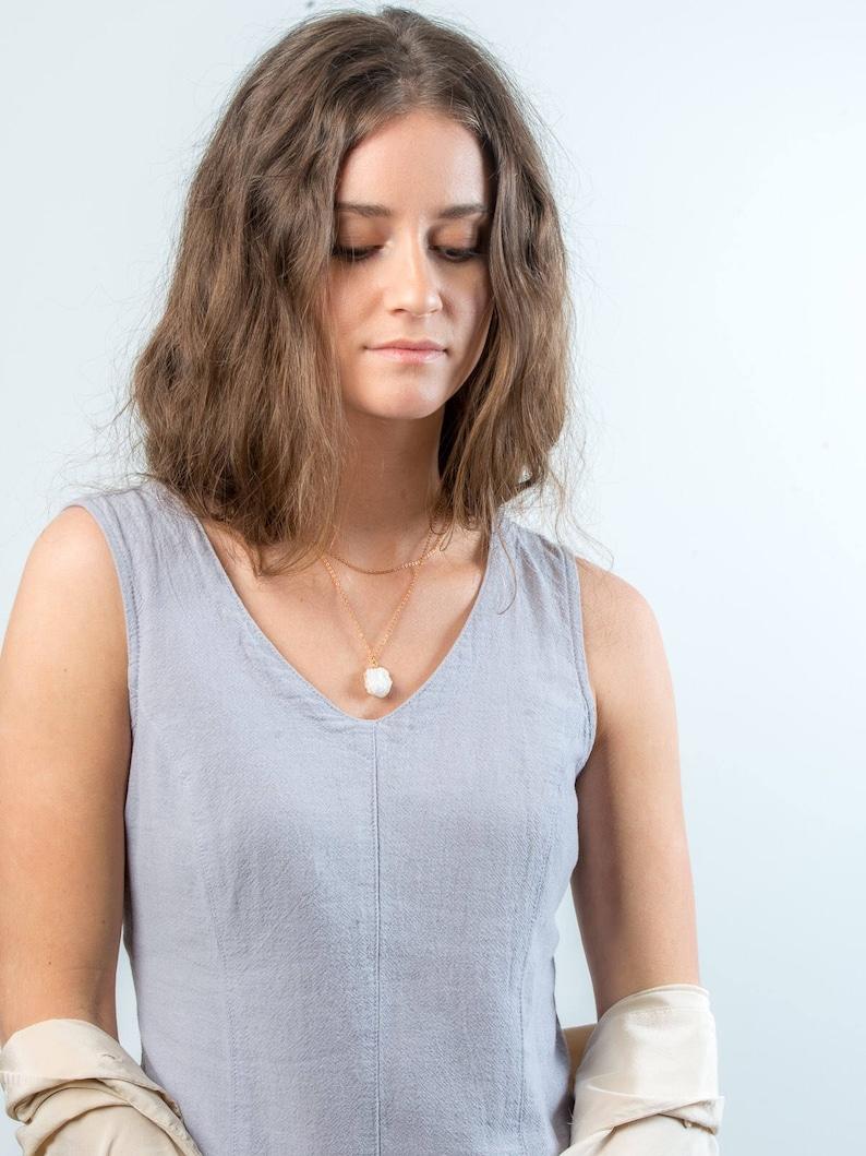 Quartz Druzy crystal necklace layered short