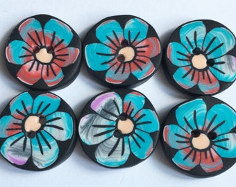 Large buttons handcrafted - clay button - 2 cm-