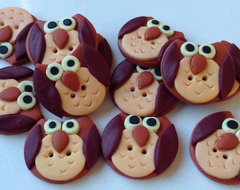 Button 1.8 cm - fimo - buttons - OWL - couture handmade polymer clay buttons