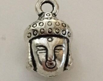 Pendant/charm 14 mm silver plated Buddha