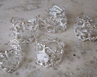 5 supports of ring or silver filigree - Adjustable Brass Filigree Ring Setting Components