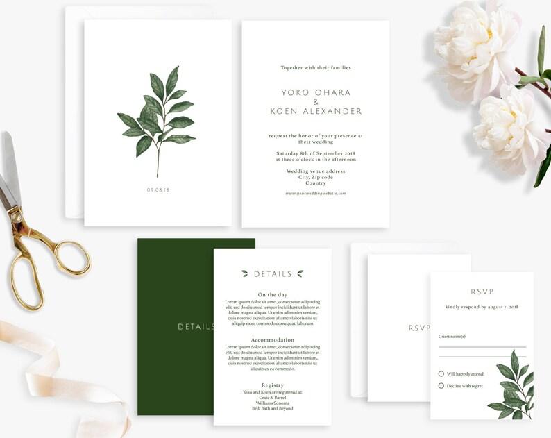 Wedding Invitation Suite Printable Wedding Invitation Leaf image 0