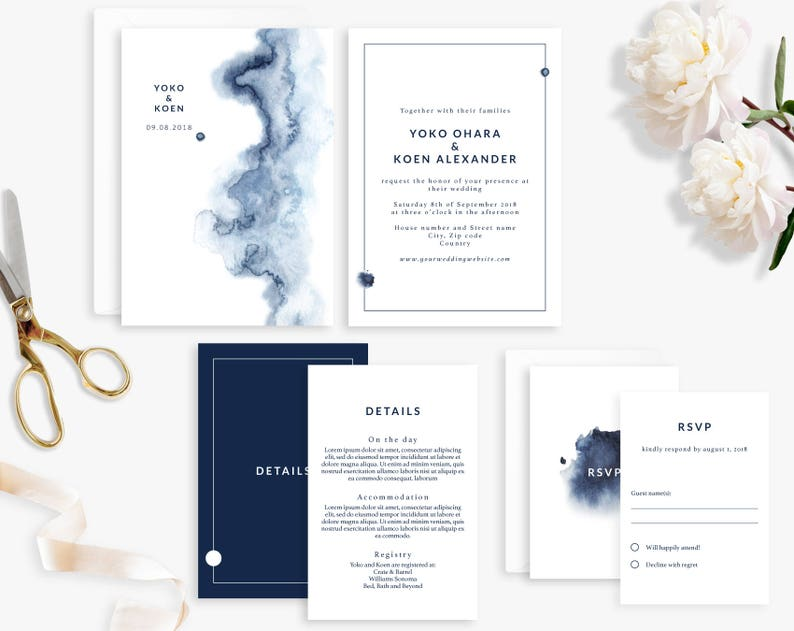 Wedding Invitation Suite Printable Wedding Invitation Water image 0