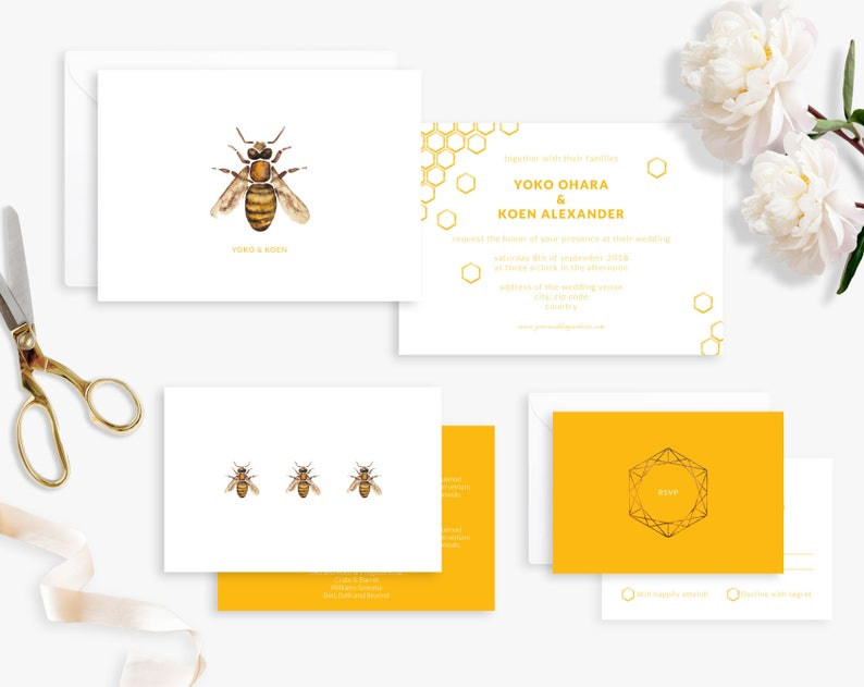 Wedding Invitation Suite Printable Wedding Invitation Honey image 0