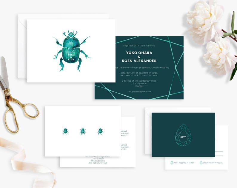 Wedding Invitation Suite Printable Wedding Invitation Beetle image 0