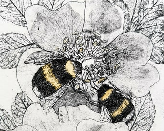 Bees with Wild Roses