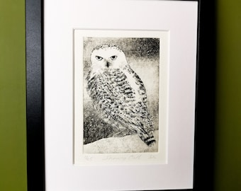 Snowy Owl Print. Handmade Limited Edition Etching