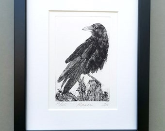 Raven Print. Handmade, Limited Edition Etching