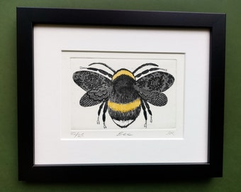 Bee Print. Hand Printed Limited Edition Bee Etching