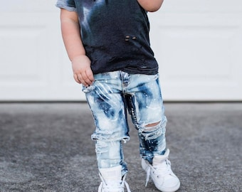 The Basic Messies - Hand painted distressed denim skinny jeans - Trendy Toddler and infant PRE-ORDER