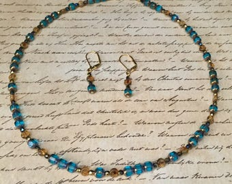 Vintage Blue Necklace and Earrings