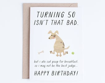 Pet Dad 50th Birthday Printable Cards Instant Download 50 Dog Card Funny Fifty For Lovers Him Her
