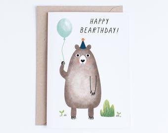 Printable Birthday Cards Kids Card Instant Download Bear Digital For Nephew Children Boys
