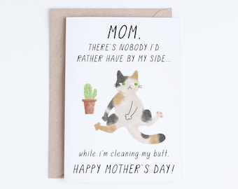 Mothers Day Cards Instant Download, Funny Mother's Day Printable Card, From the Cat, Cards For Her, Gifts for Her, Cat Moms, for Cat Lovers