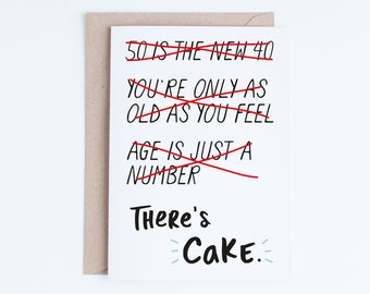 50th Birthday Cards Printable Instant Download 50 Funny For Him Her Gag Gifts Getting Old Theres Cake