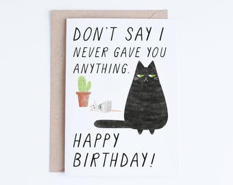 Cat Birthday Cards Instant Download, Funny Printable Birthday Cards, Black Cat Illustration, For Her, For Him, For Friend, Cat Lovers