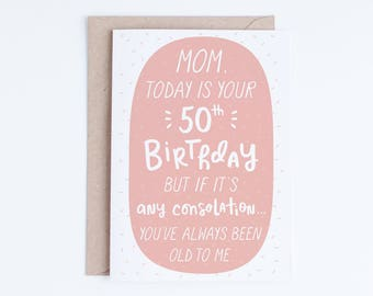 50th Birthday Cards For Mom Mothers Printable Instant Download 50 Funny Her From Son Daughter