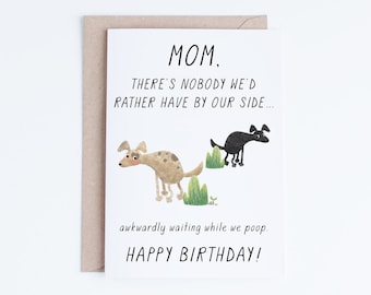 Pet Mom Printable Birthday Cards For Her Instant Download Funny Card From The Dogs Gifts Dog Moms Labradors