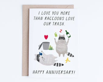 Printable Anniversary Cards, Instant Download Funny Anniversary Cards, For Boyfriend, Girlfriend, Husband, Wife, Raccoons Illustration