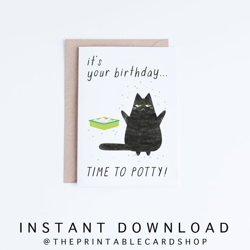 Printable Birthday Cards Instant Download Funny Cat