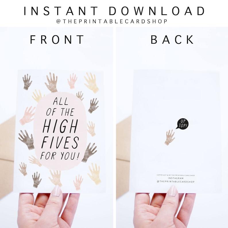 Graduation Card Printable Congratulations Cards Hands Illustration Congrats Card Instant Download Celebration Cards High Five