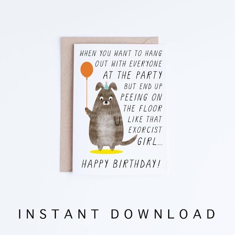 Dog Birthday Cards Instant Download Meme Printable