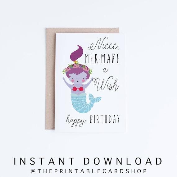 Birthday Card For Niece.Printable Mermaid Birthday Cards Niece Birthday Cards Instant Download Card From Aunt From Uncle Kawaii Birthday Card Cute Illustration