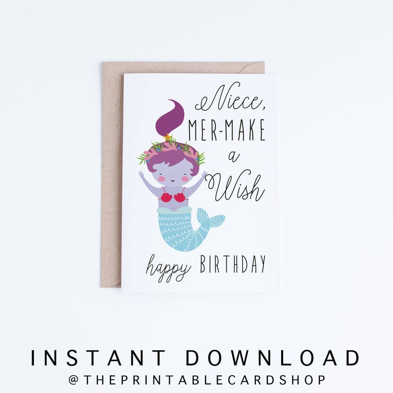 Printable Mermaid Birthday Cards Niece Instant