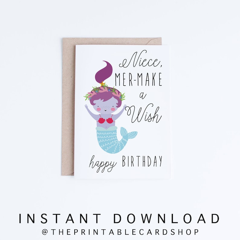 Printable Mermaid Birthday Cards Niece Instant Download Card From Aunt Uncle Kawaii Cute Illustration