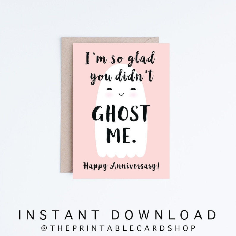 photograph about Printable Anniversary Cards for Husband titled Printable Anniversary Playing cards, Fast Obtain Humorous Anniversary Playing cards, Boyfriend, Girlfriend, Partner, Spouse, Millennials, Ghosted, Tinder