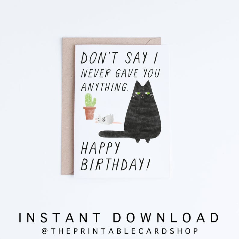 Cat Birthday Cards Instant Download Funny Printable