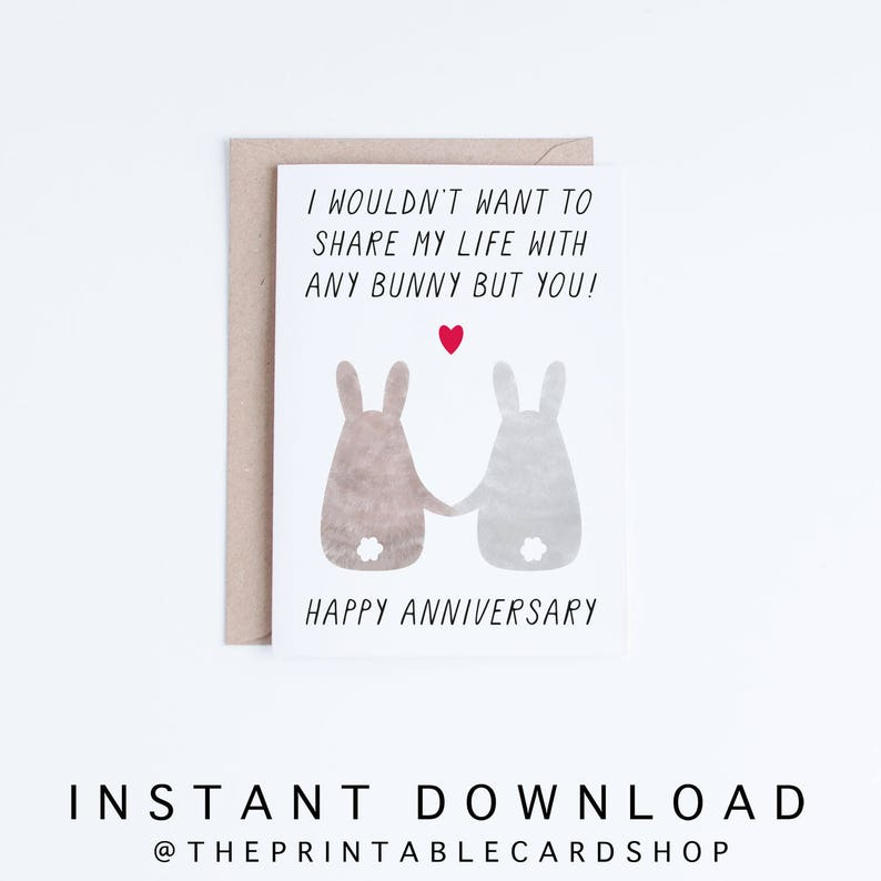 image about Happy Anniversary Card Printable named Printable Anniversary Playing cards, Anniversary Electronic Playing cards, Pleased Anniversary Bunnies Example, Bunny Anniversary Playing cards Fast Down load