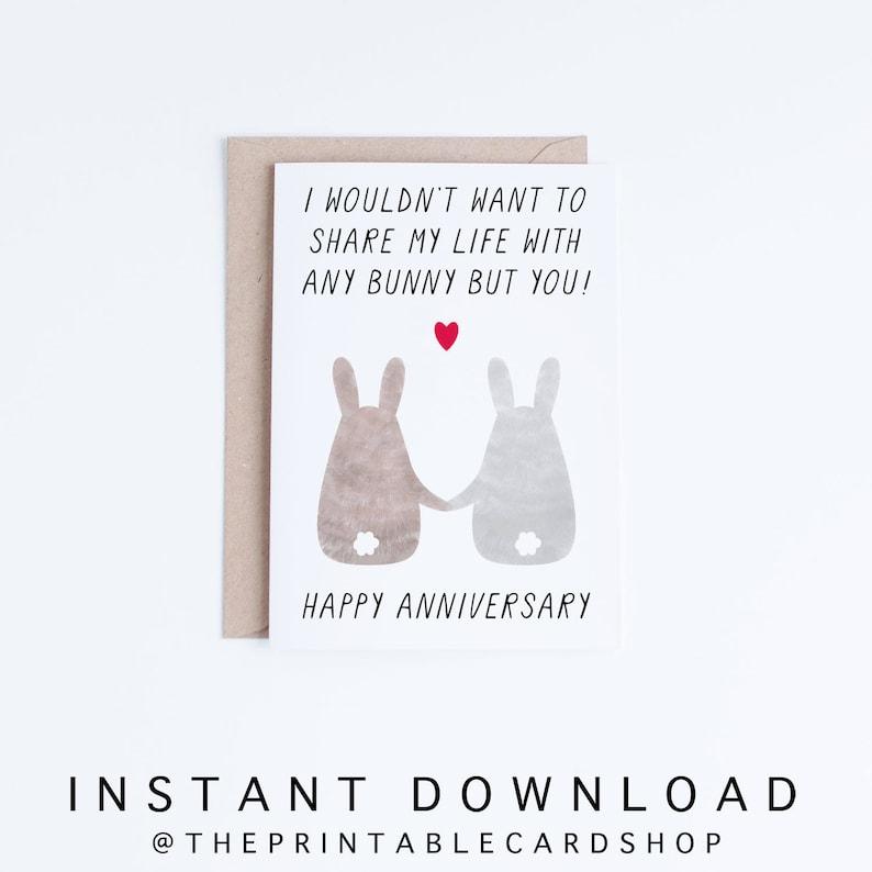 photo regarding Happy Anniversary Card Printable named Printable Anniversary Playing cards, Anniversary Electronic Playing cards, Content Anniversary Bunnies Instance, Bunny Anniversary Playing cards Fast Down load