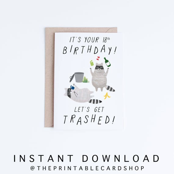 Printable 18th Birthday Cards Funny 18 Instant