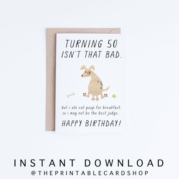 Pet Dad 50th Birthday Printable Cards Instant Download 50