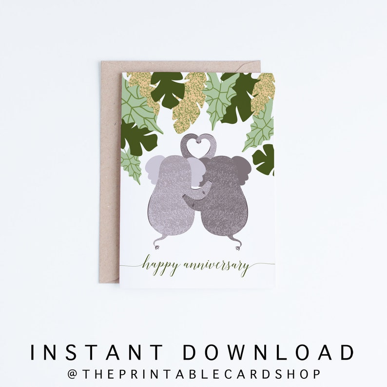 picture regarding Printable Anniversary Cards for Husband known as Printable Anniversary Playing cards, Joyful Anniversary Elephants Electronic, Elephant Anniversary Playing cards Prompt Down load, For Spouse, For Boyfriend