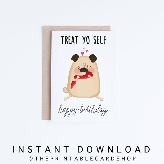 Pug Birthday Cards Printables Funny Card Instant