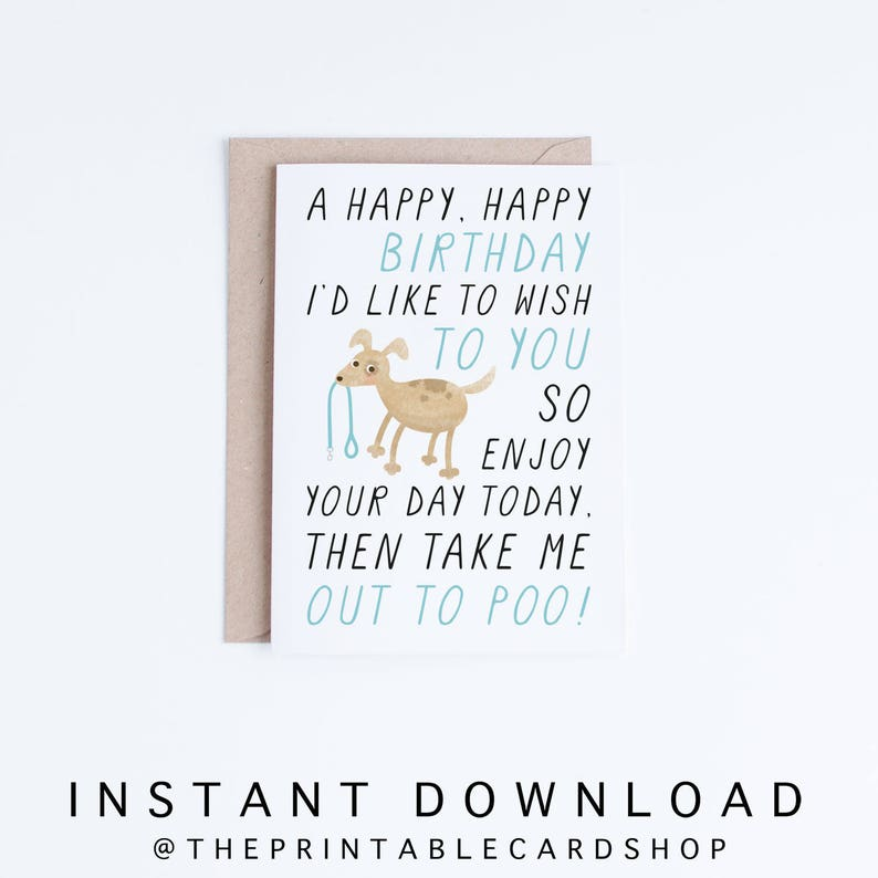 Printable Birthday Cards Instant Download Funny Dog