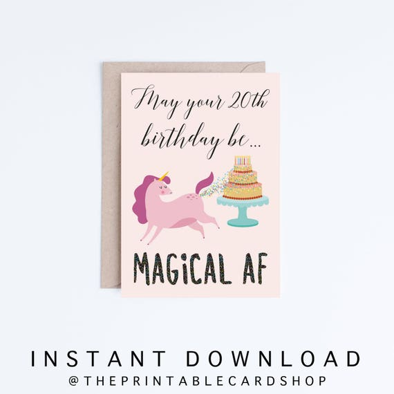Funny Unicorn 20th Birthday Card Instant Download