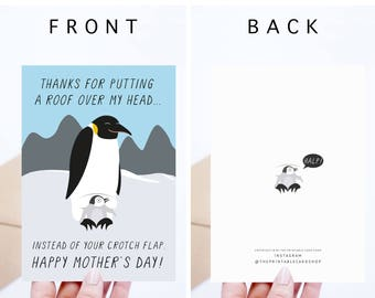 Funny Mothers Day Cards Printable, Funny Mother's Day Digital Download Cards, Penguins, For Mom, Cards For Her, Gifts for Her, Gross Cards