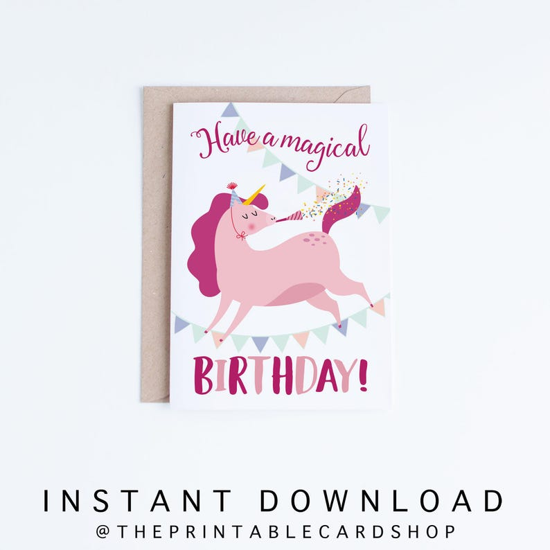 Printable Unicorn Birthday Cards Girls Instant