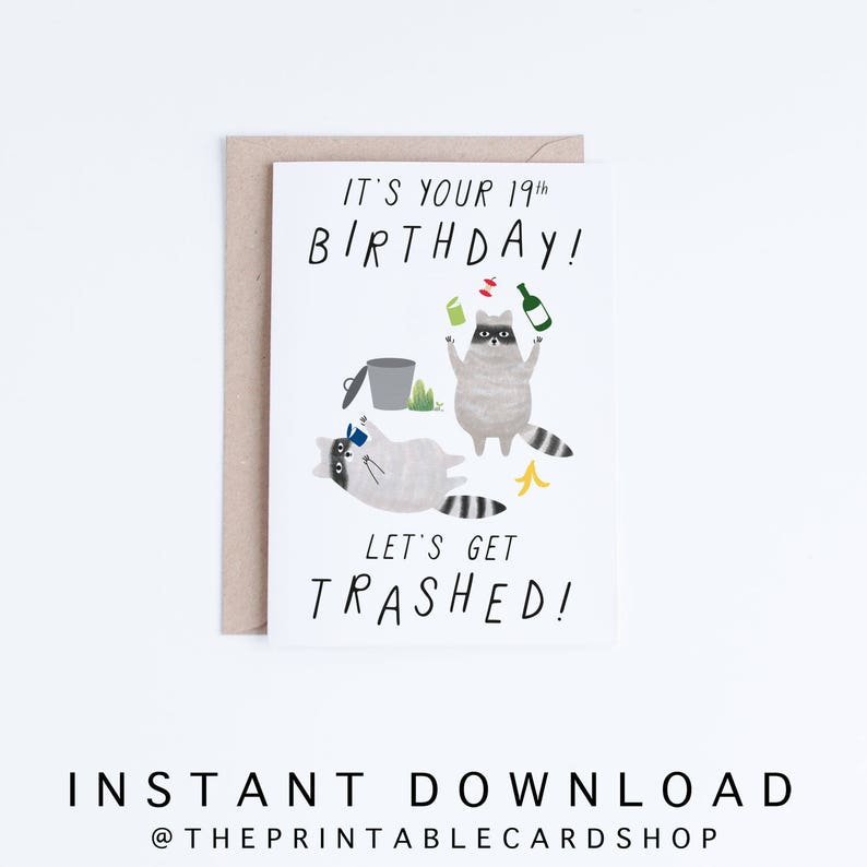 Printable 19th Birthday Cards Funny 19 Instant