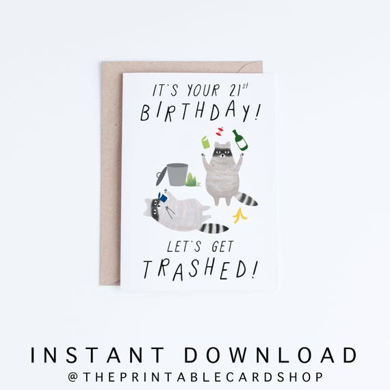 Printable 21st Birthday Cards Funny 21 Instant