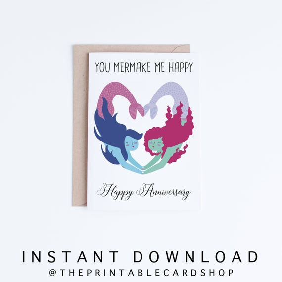 photo about Printable Anniversary Cards known as Printable Anniversary Playing cards, Lesbian Anniversary Card Quick Down load, Punny Mermaids Case in point, Mermaid, For Girlfriend, Spouse, Puns