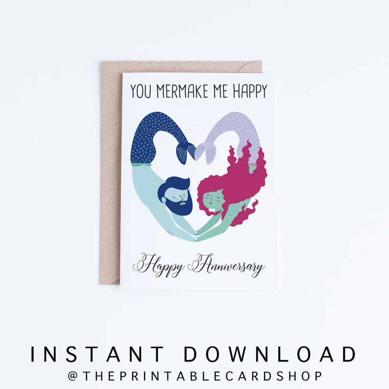 picture about Printable Anniversary Cards known as Printable Anniversary Playing cards, Humorous Anniversary Playing cards Instantaneous Obtain, Boyfriend, Girlfriend, Spouse, Spouse, Mermaid Handful of, Punny, Pun