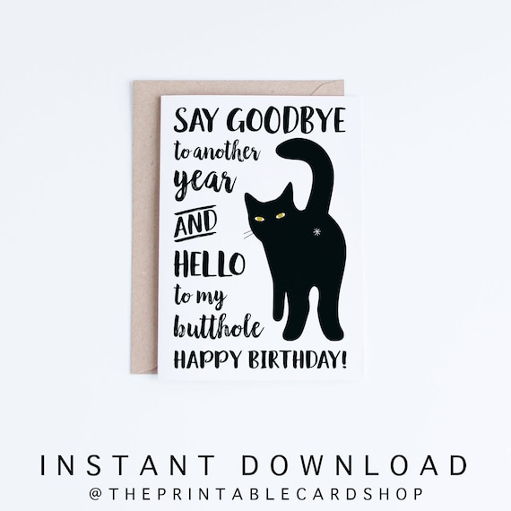 Printable Cat Birthday Cards Black Funny