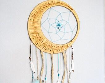 Blue Buddha Crescent Moon Dream Catcher
