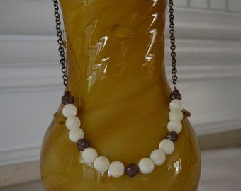 Mother of Pearls n Antiqued Copper Necklace
