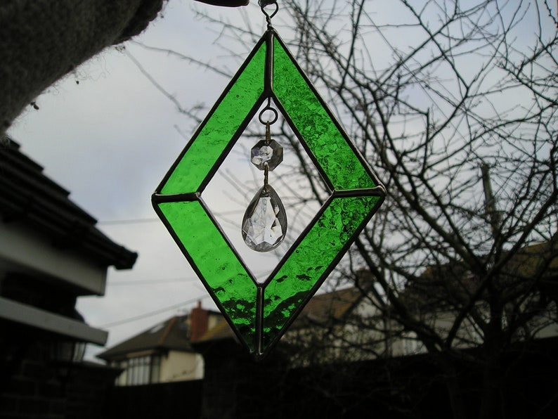 Handmade in England Stained Glass Diamond Shape Suncatcher With Hanging Crystals